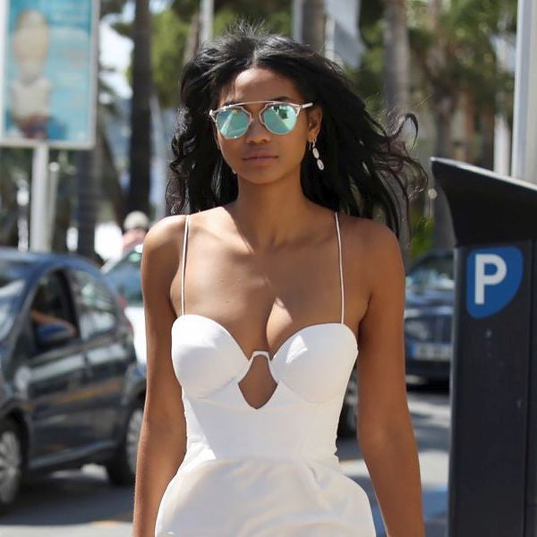 Chanel Iman Style Thin Bar Color Mirror Flat Top Celebrity Sunglasses