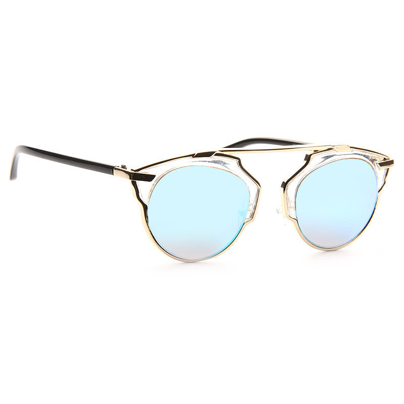 So Real 2 Thin Bar Color Mirror Flat Top Clear Frame Sunglasses