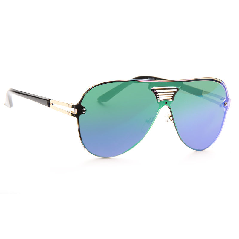 Bella Hadid Style Rimless Color Mirror Flat Top Shield Aviator Celebrity Sunglasses