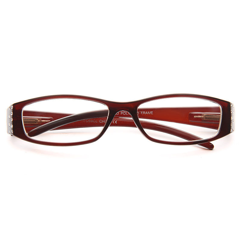 Charleston Rhinstone Skinny Clear Glasses