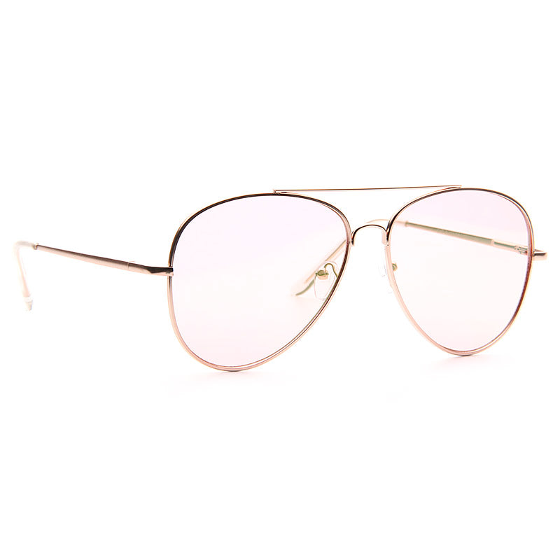 Luxe Classic 60mm Color Tint Flat Lens Aviator Sunglasses