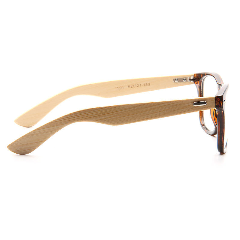 Jude Genuine Bamboo Wood Clear Horn Rimmed Glasses