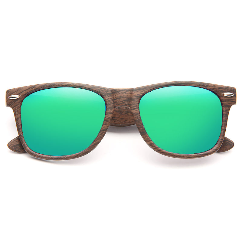 Jude Large Color Mirror Wood Grain Horn Rimmed Sunglasses