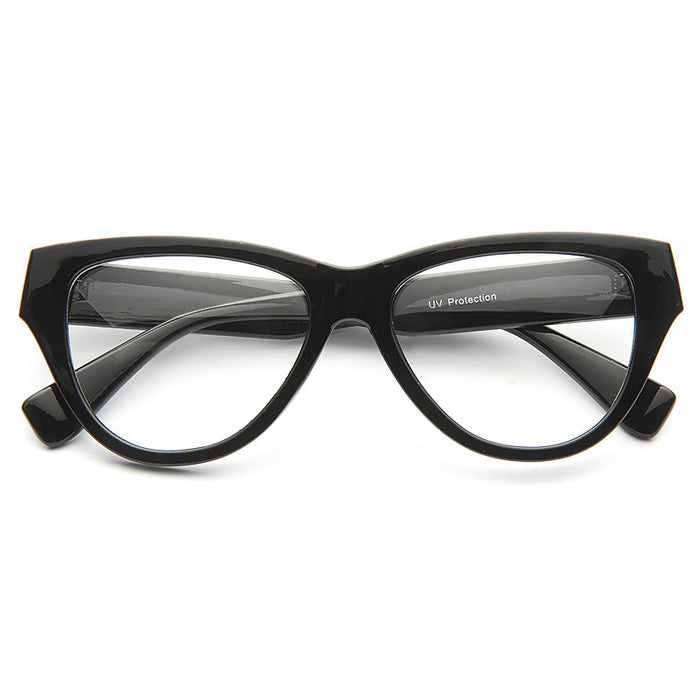 Greta Solid Frame Clear Cat Eye Glasses