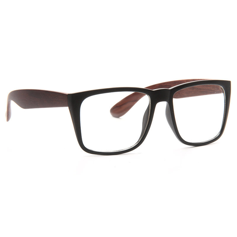 Rossmoor Rubber Coated Wood Grain Clear Horn Rimmed Glasses