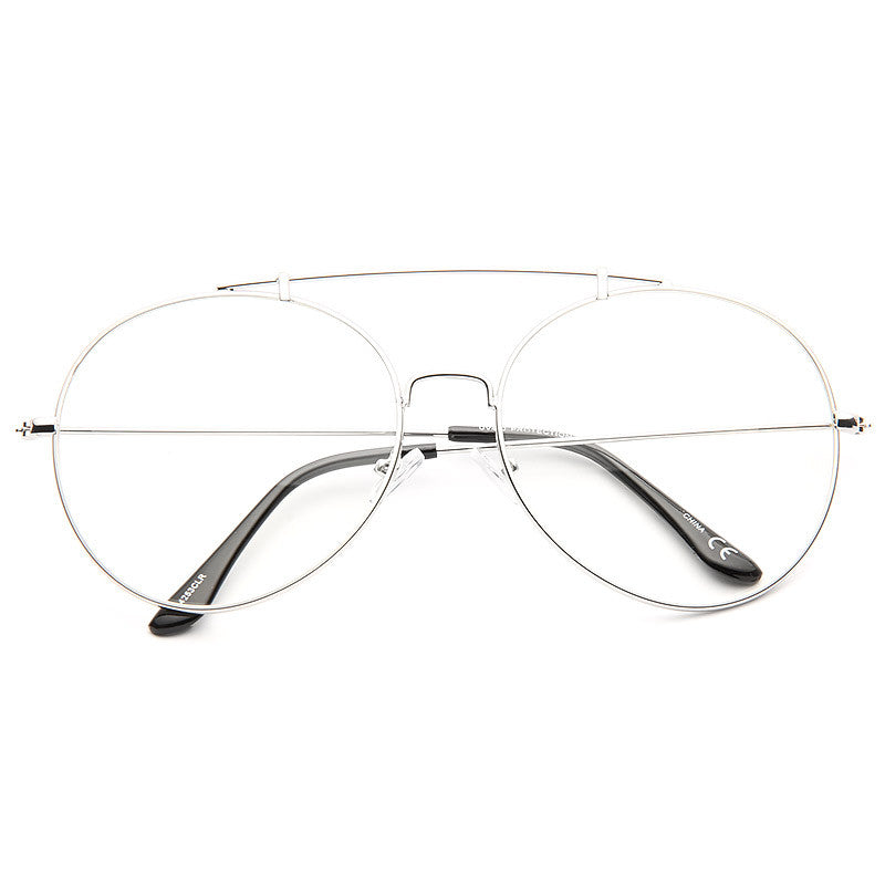 Duvall 62mm Oversized Rounded Clear Aviator Glasses