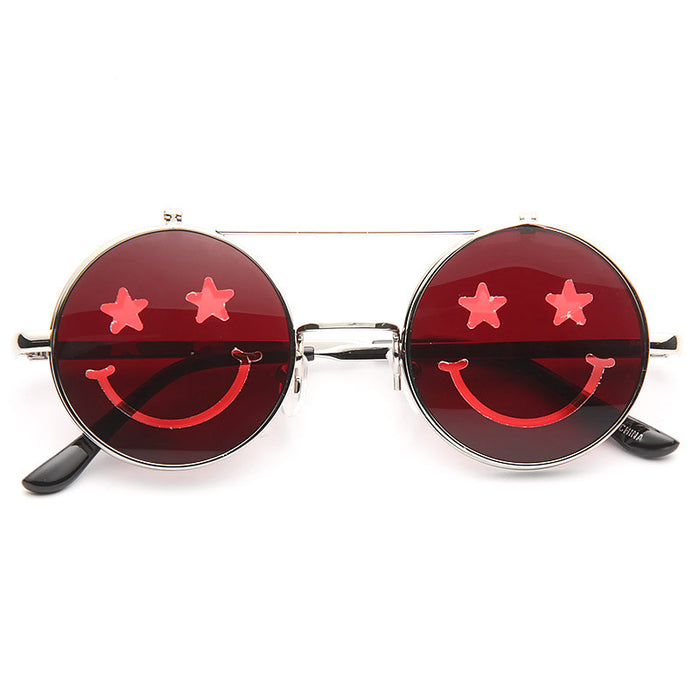 Smiley Unisex Flip Up Round Color Tint Sunglasses