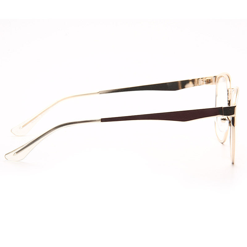 Vance Designer Inspired Metal Half-Frame Clear Glasses