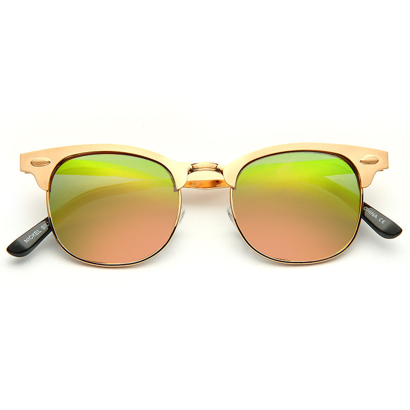 Peyton All Metal Mirror Lens Half Frame Sunglasses