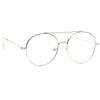 Eldred Metal Flat Lens Clear Round Aviator Glasses