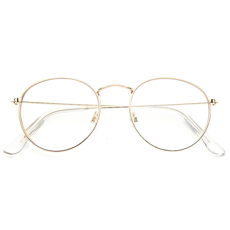 db4abed0b790 Simon Cowell Style Metal Flat Lens Round Celebrity Clear Glasses
