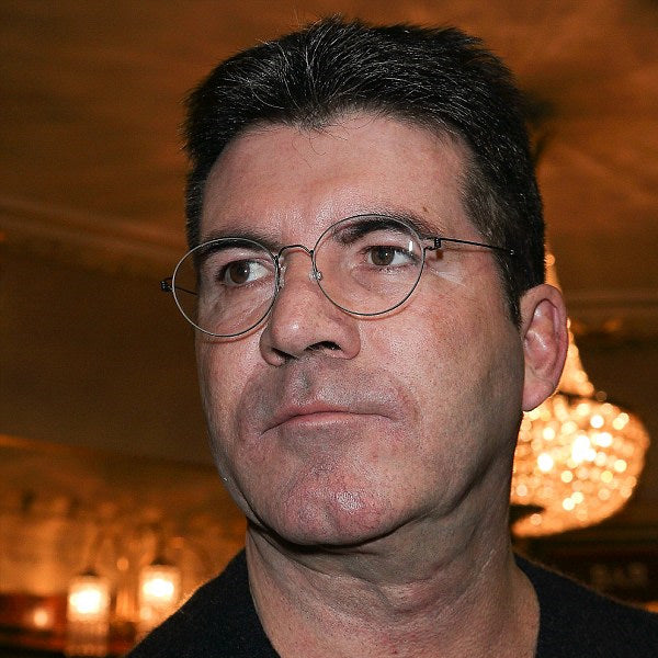 Simon Cowell Style Metal Flat Lens Round Celebrity Clear Glasses