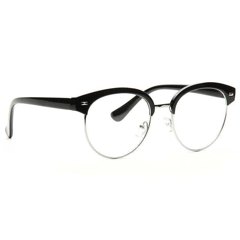 Hackett Unisex Round Metal Clear Half Frame Glasses