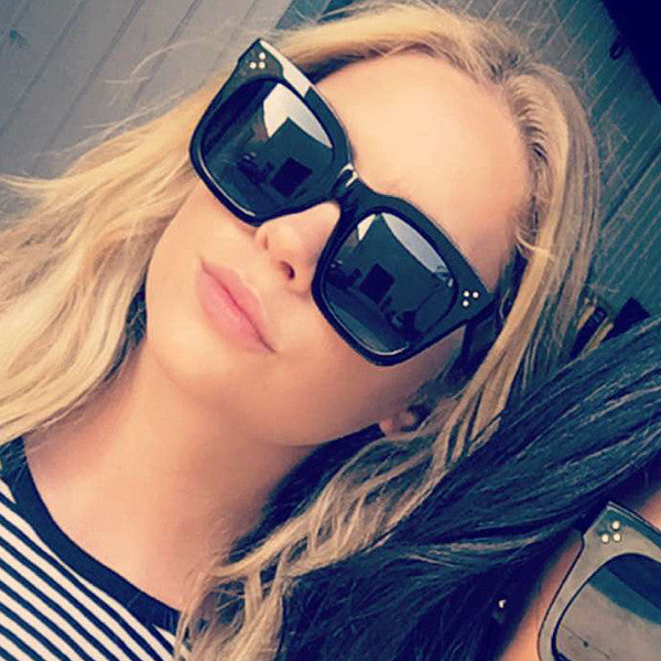 Ashley Benson Style Oversized Squared Horn Rimmed Celebrity Sunglasses