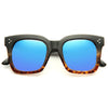 Tilda Oversized Designer Inspired Color Mirror Horn Rimmed Sunglasses