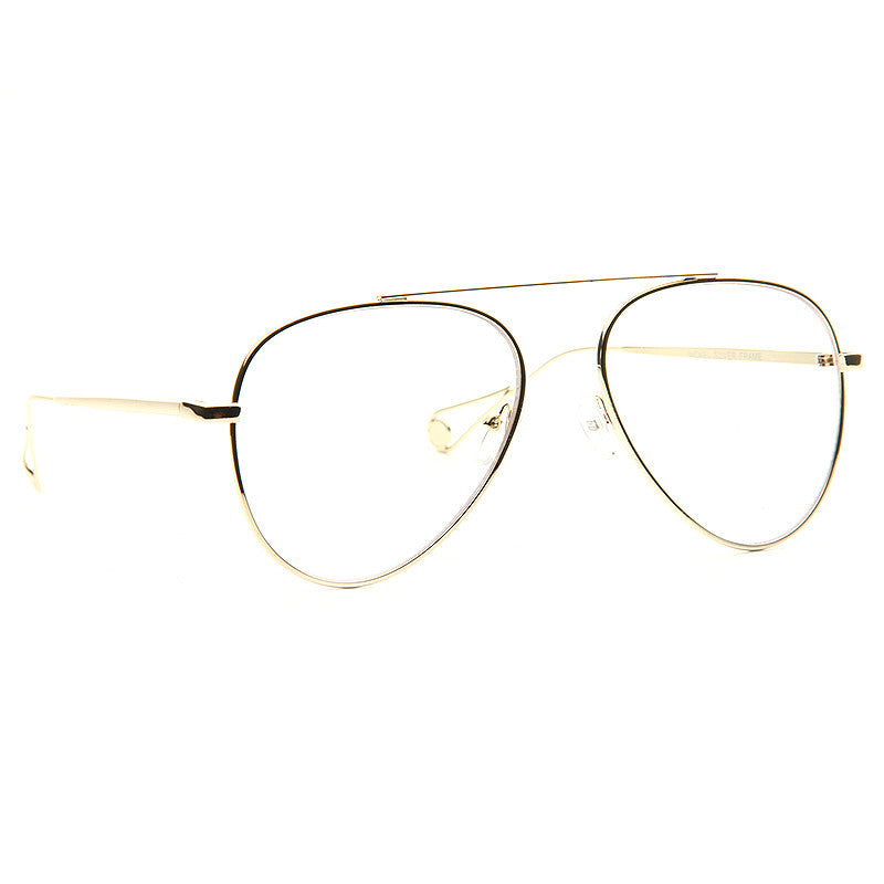 Brock Metal Flat Lens Clear Aviator Glasses