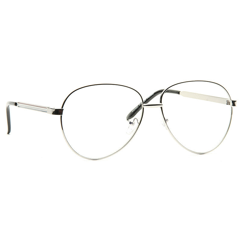 Juneau Metal Clear Aviator Glasses