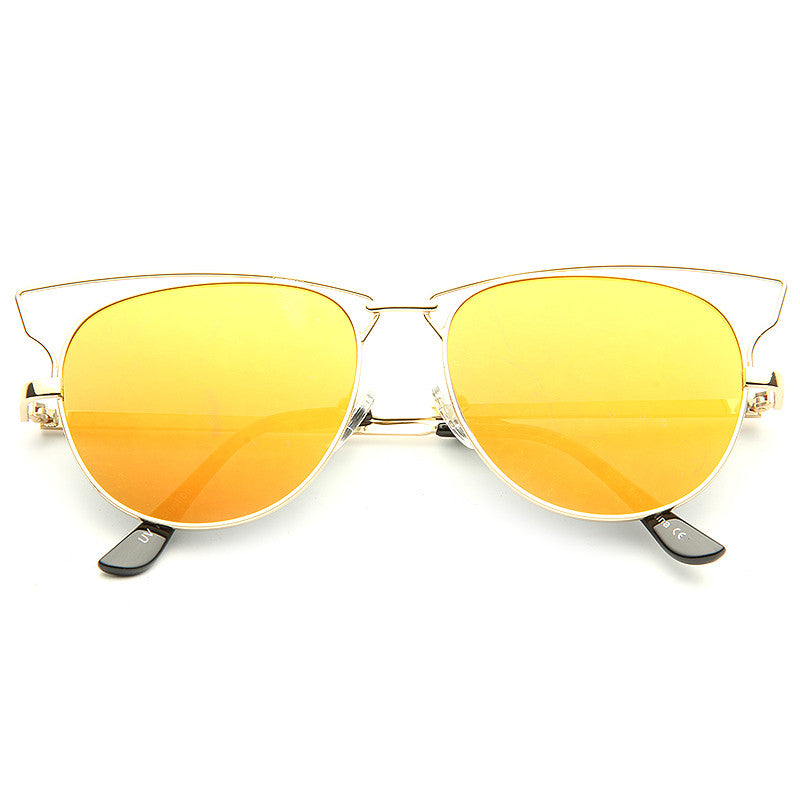 Technos Designer Inspired Color Mirror Half Frame Sunglasses