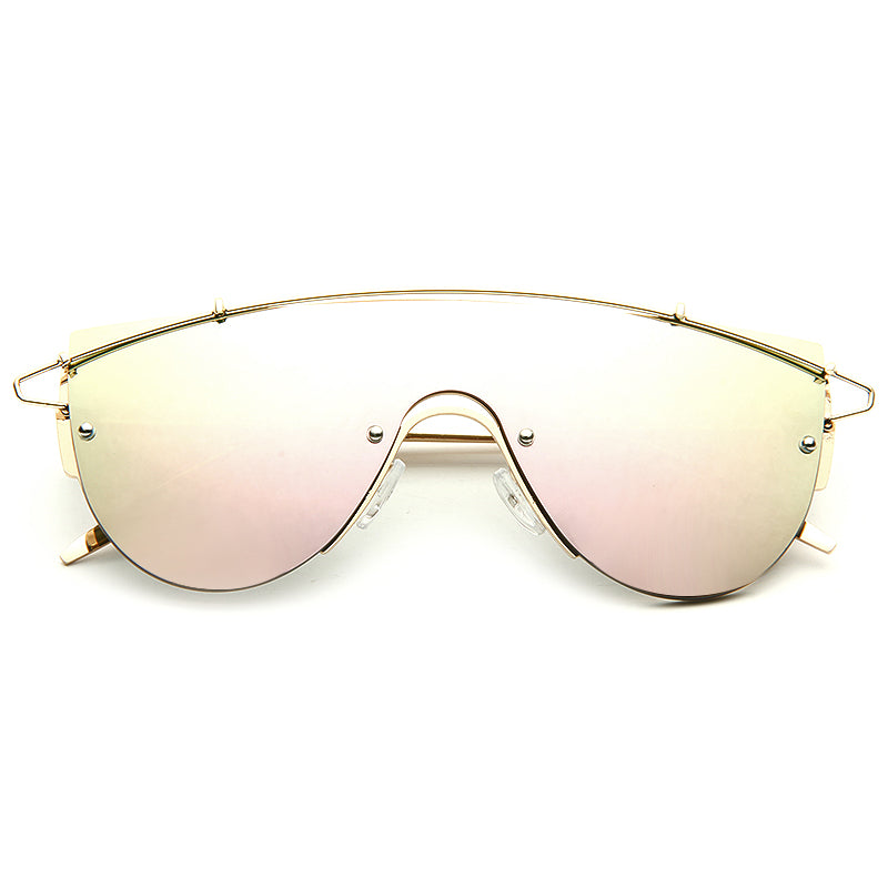 Kendal Jenner Style Flat Top Mirror Shield Celebrity Sunglasses
