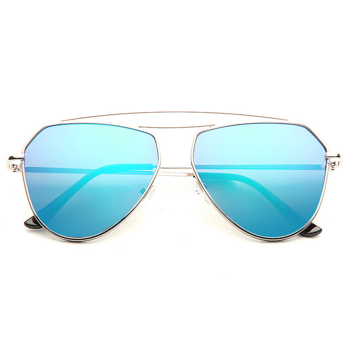 Bellair Flat Lens Color Mirror Aviator Sunglasses