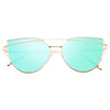 LovePunch Designer Inspired Flat Lens Color Mirror Sunglasses