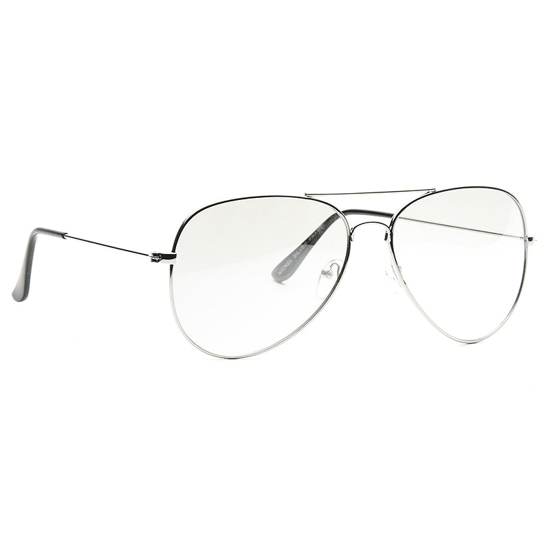 Classic 58mm Lightly Tinted Clear Aviator Glasses