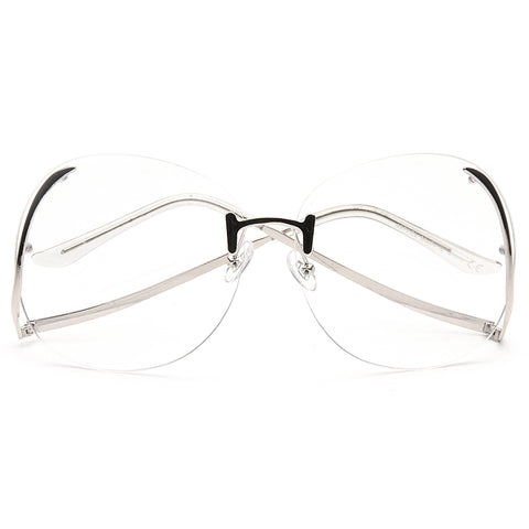 d6eef1c6609b Flutter Oversized Rimless Low Temple Clear Glasses