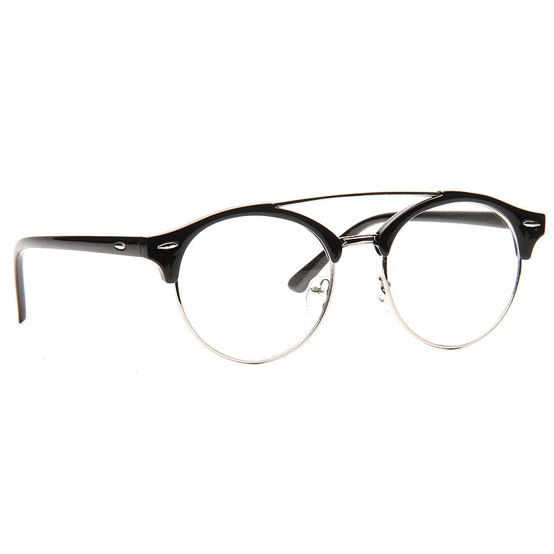 Nixon Unisex Round Metal Clear Half-Frame Glasses