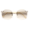 Winston Unisex Rimless Lightly Tinted Round Sunglasses