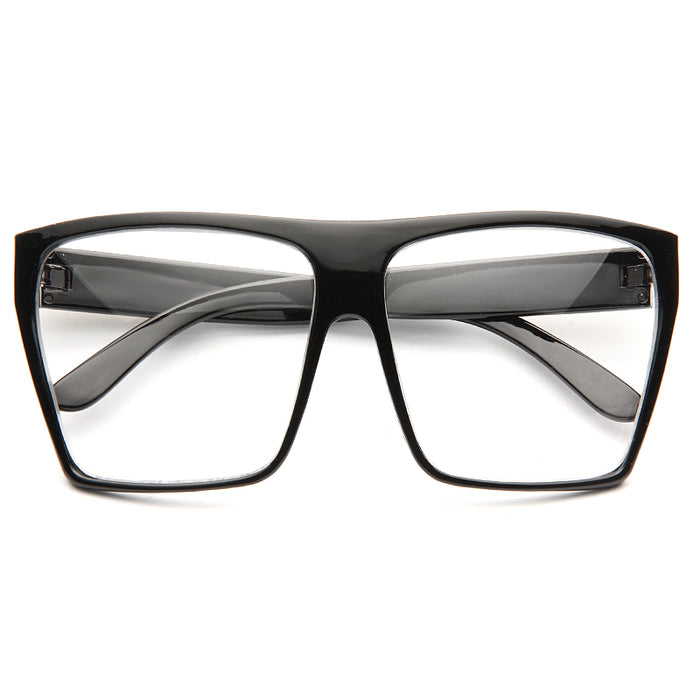 Paola Oversized Flat Top Metal Accent Clear Glasses