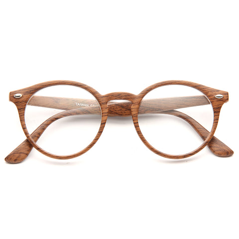 821138629786 Grayson 2 Oversized Wood Grain Round Clear Glasses