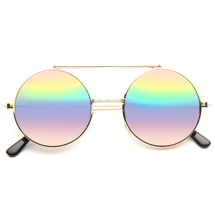Hallick Color Mirror Round Flip-Up Metal Sunglasses