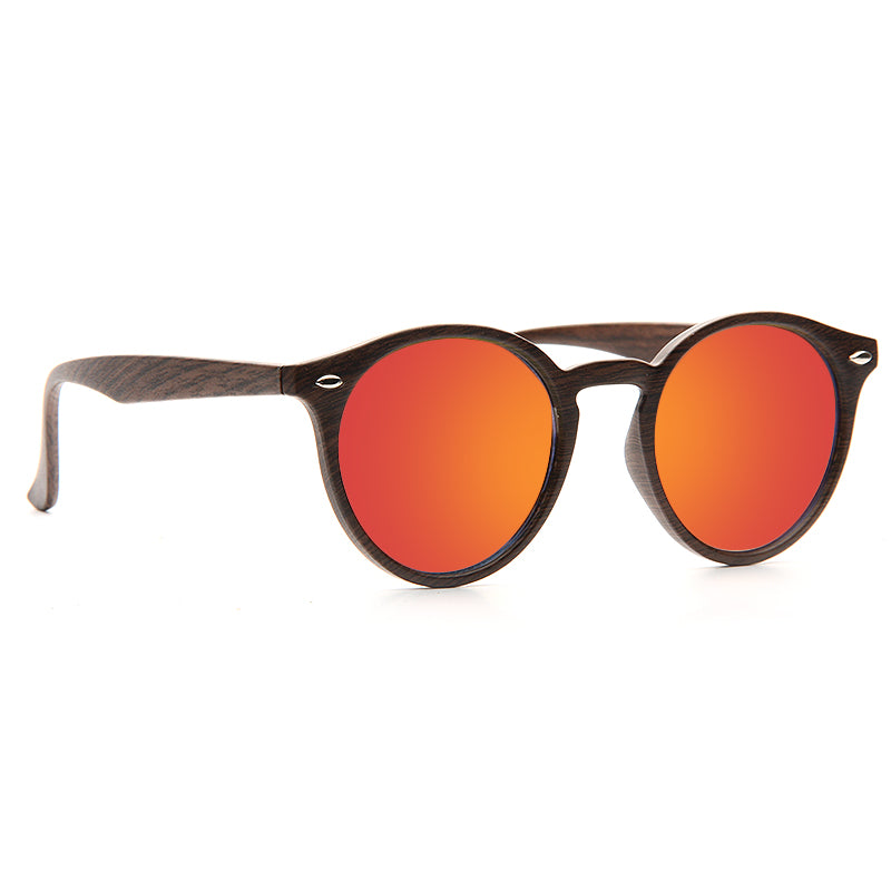 Grayson 2 Color Mirror Wood Grain Round Sunglasses