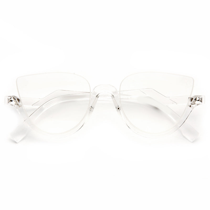 Blink Designer Inspired Half Rimmed Cat Eye Clear Glasses