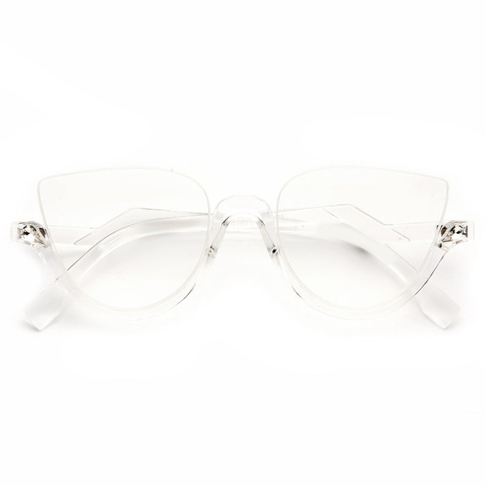 Blink Designer Inspired Half Rimmed Cat Eye Clear Frame Clear Glasses