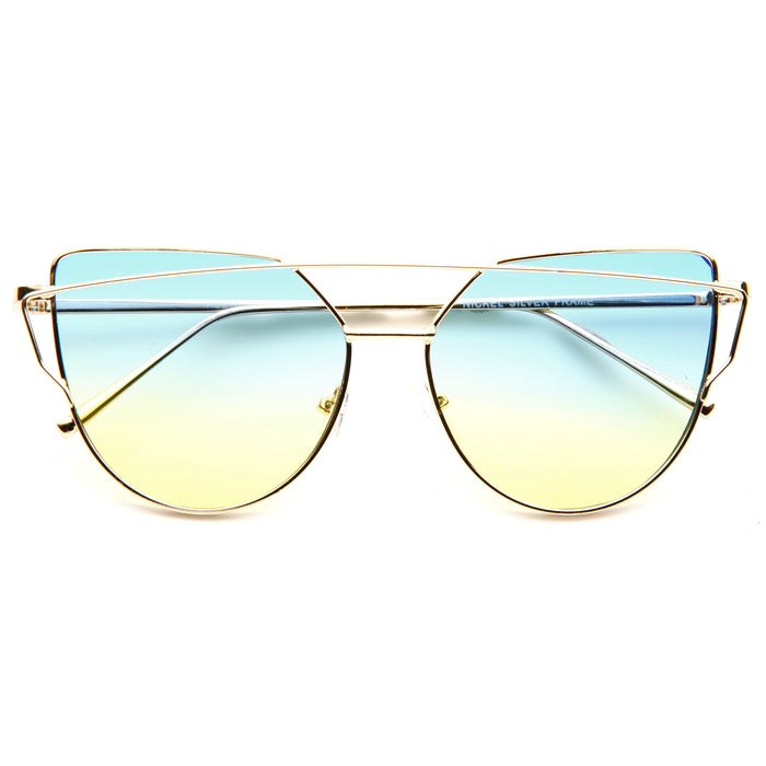 LovePunch Designer Inspired Flat Lens Split Tint Sunglasses