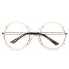 Union Oversized Metal Round Clear Glasses