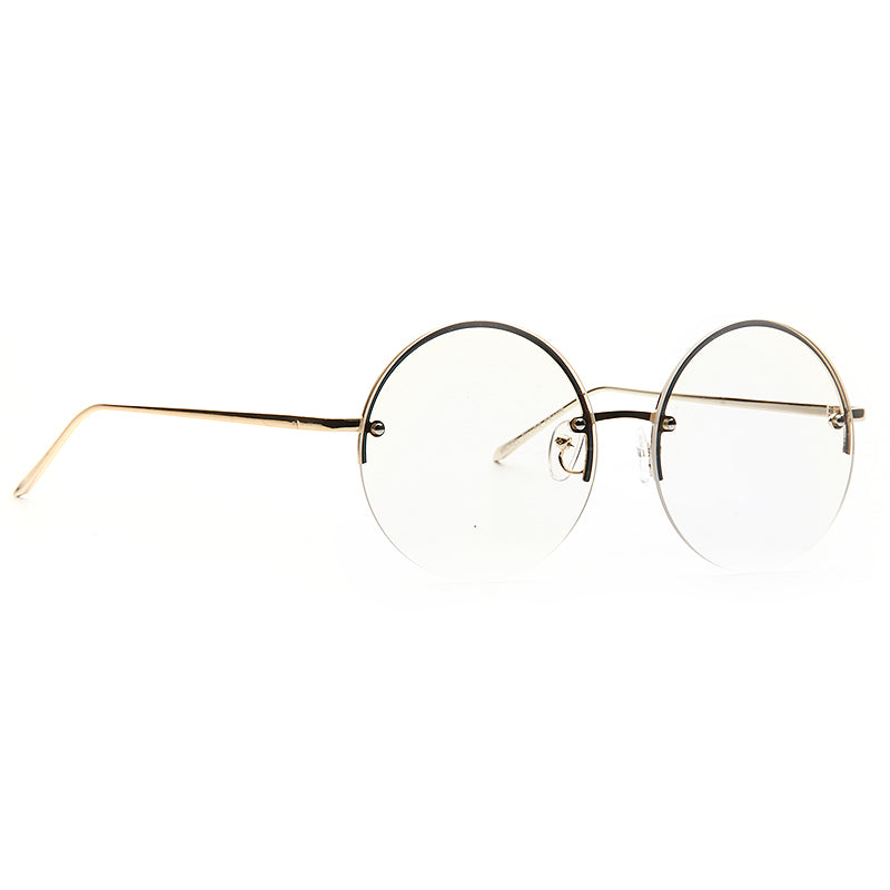 Coral Rimless Flat Lens Metal Round Clear Glasses