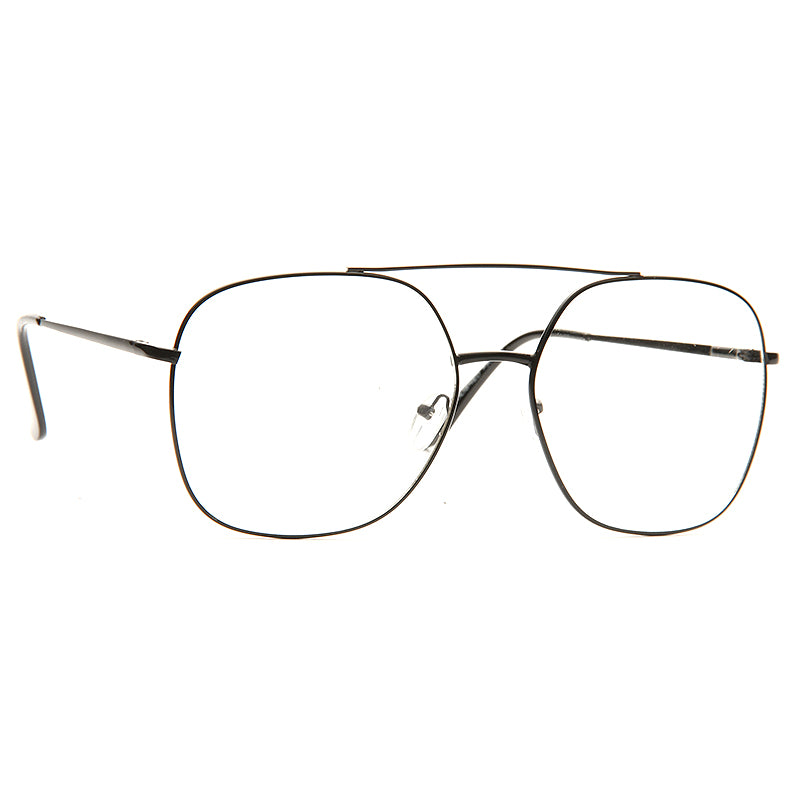 Diaz Oversized Metal Clear Aviator Glasses