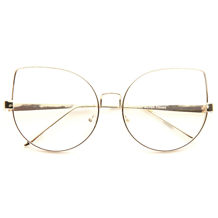 Lexi Designer Inspired Metal Flat Lens Cat Eye Clear Glasses