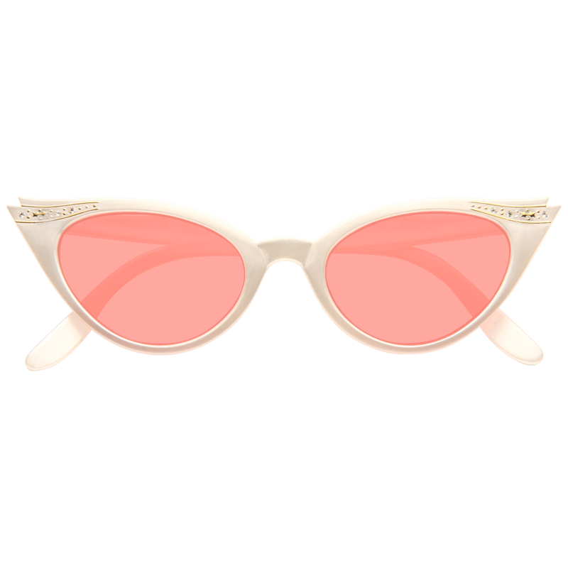 Betty Jo Rhinestone Cat Eye Color Tint Sunglasses