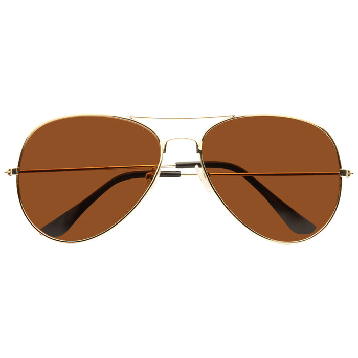 Classic 58mm Solid Super Dark Aviator Sunglasses