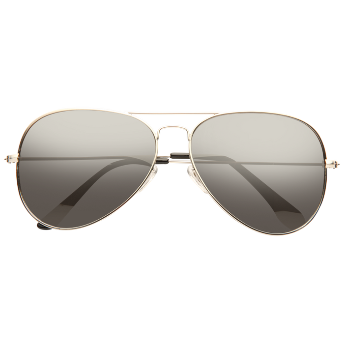Classic 60mm Silver Mirror Aviator Sunglasses