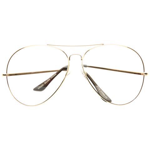 3d584cf8dd Kiln Oversized Lightly Tinted Metal Clear Aviator Glasses