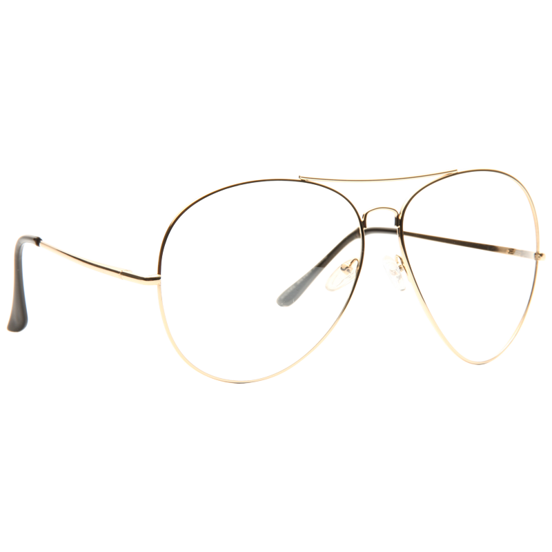 Kiln Oversized Lightly Tinted Metal Clear Aviator Glasses