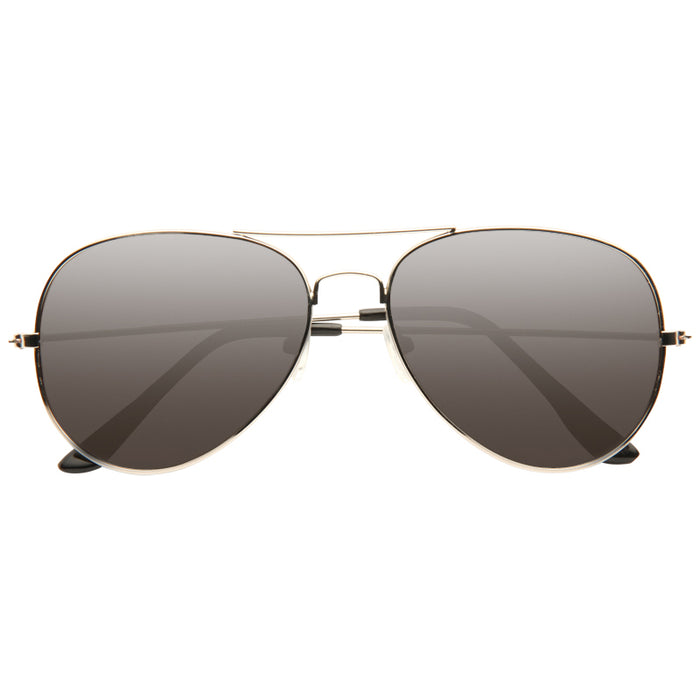 Classic 56mm Silver Mirror Aviator Sunglasses