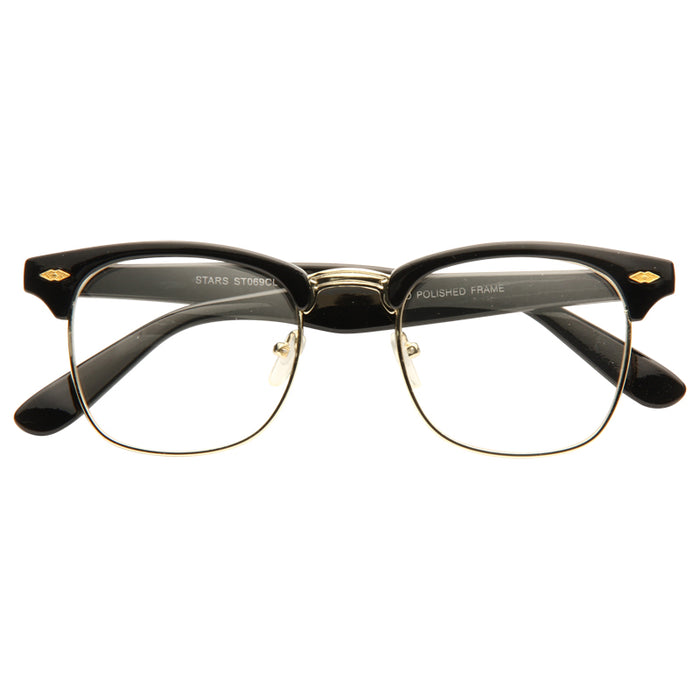 Peyton 6 Unisex Metal Clear Half-Frame Glasses