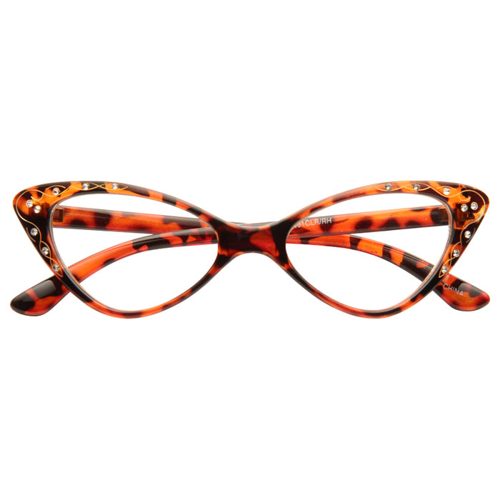 Mavis Rhinestone Solid Frame Cat Eye Clear Glasses