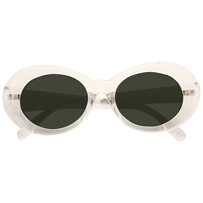 California 2 Designer Inspired Round Clear Frame Sunglasses
