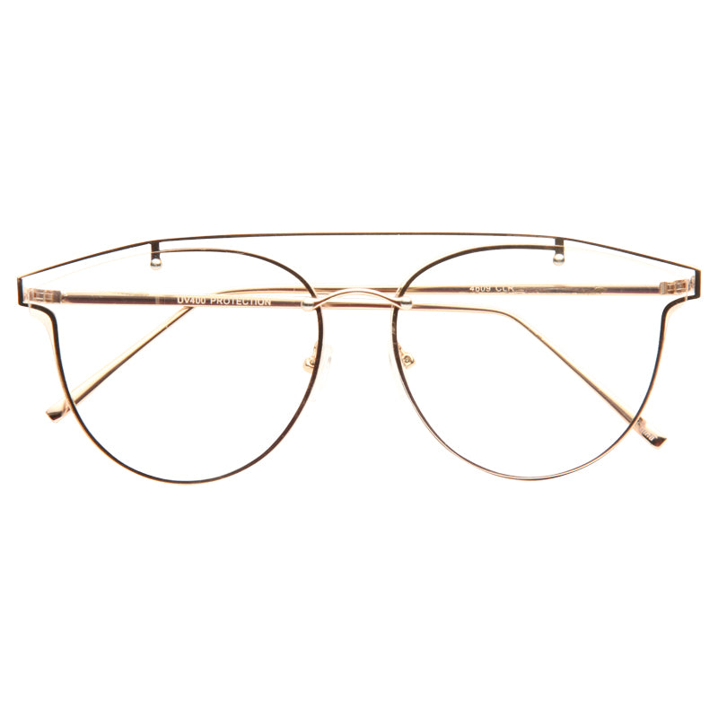 Angola Crossbar Flat Lens Round Horn Rimmed Clear Glasses